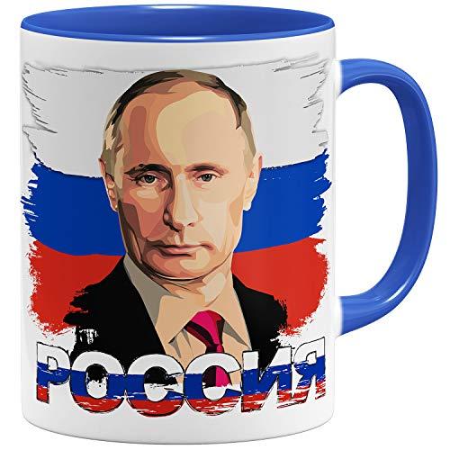 OM3® - Putin Russland - Tasse   Keramik Becher   11oz 325ml   Beidseitig Bedruckt   Royalblau