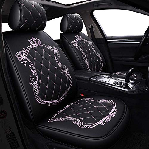 Skysep Crown Car Seat Covers, Fully Surrounded Unisex Seat,Winter Leather Seats Car,PU Leather and 3D Breathable Fabric (Black-Pink)