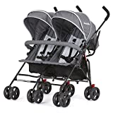 Dream On Me Volgo Twin Umbrella Stroller, Dark/Light Grey...