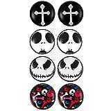 Flongo 4 Paia 10mm Orecchini Magnetici Uomo Donna, Orecchini con teschi gotici skulls
