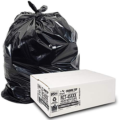 Heavy Duty 45 Gallon Trash Bags - (Huge 100 Pack/w Flap Ties) - 2.0 MIL (Equivalent) 40' x 46' Star Seal Bottom Thick Garbage Bags for Contractors, Lawn, Leaf, Yard Waste Commercial Kitchen