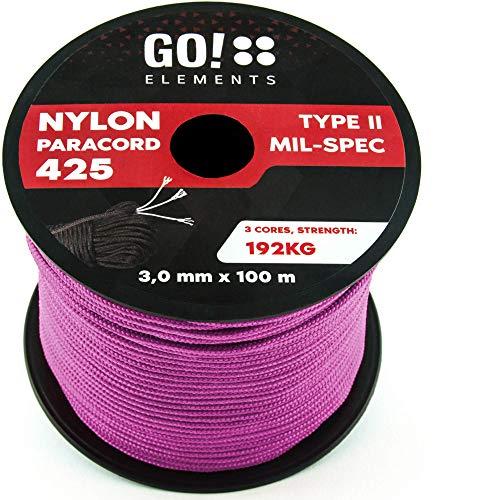 GO!elements 100m Cuerda Paracord de Nylon Resistente al desgarro - 3mm Paracord 425 Tipo II líneas como Cuerda para Exteriores, Cuerda para Todo Uso - línea de Nylon MAX. 192kg, Color:Rosa