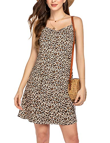 Hotouch Summer Dresses for Women Casual T Shirt Sundress Swimsuit Cover Ups with Pockets Leopard Print M