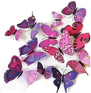 Set 12pcs 3D Mix Colour Butterfly Wall Stickers Decoration