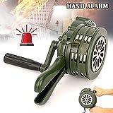 Gizayen Hand Crank Siren Horn 110dB Manual Operated Metal Alarm Air Raid Emergency Safety, Hand Crank Air-Raid Siren Safesurance Alloy Operated Emergency Safet