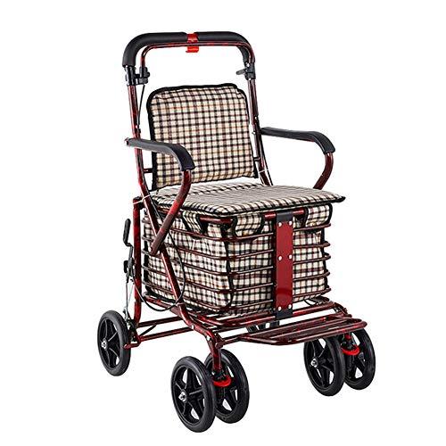 Amadon Walkers Rollator Mit Sitz Und Rädern, Zusammenklappbare Rollmobilitätshilfe Für Ältere Senioren, Langlebiger Stahl-Gehstützenrahmen Unterstützt Bis Zu 220 Lbs