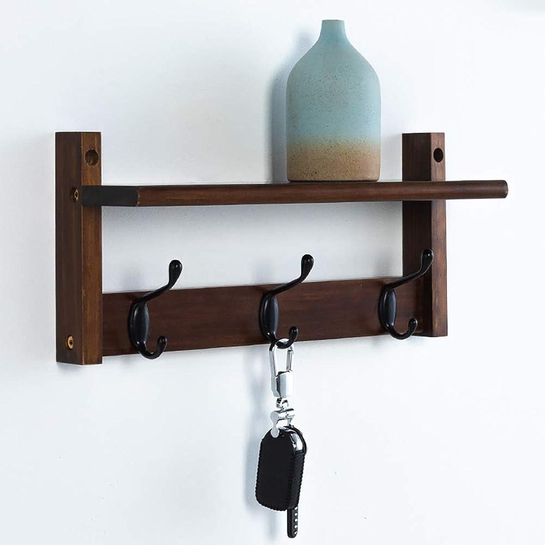 流す簡潔な聖人ウォールハンガー ブラウンコートラック収納棚、壁掛けコートフック、木製洋服フックハンガー用出入り口浴室用寝室 (Color : Brown, Size : 5 hooks)