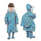 Kinder-Regenmantel, einteiliger Regenmantel, Kinder-Overall, Jungen Mädchen, Cartoon-Motiv, wasserdicht, Windbreaker, atmungsaktiv, zusammengefügter Regenmantel mit Tasche, Jacke, 2–10 Jahre, blau, 36