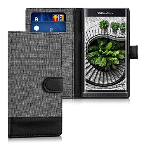 kwmobile BlackBerry Priv Hülle - Kunstleder Wallet Case für BlackBerry Priv mit Kartenfächern & Stand - Grau Schwarz