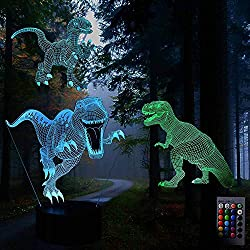 3D Led Night Light, 3 Pattern Dinosaur Illusion Lamp, 16 Colors and 4 Working Modes, Decor Lamp with Remote and Touch Control, 3 Power Ways, with Gift Box for Children, Kids, Toddlers, Boys and Girls