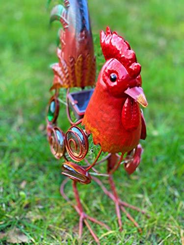 Hahn aus Metall mit Led Beleuchtung Vogel Eisentier Gockel Huhn Deko Garten Hühner