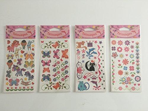 kim play Lot DE 4 Plaque DE Tatouages TEMPORAIRES Fille Fleur Papillon Animaux Tatoo