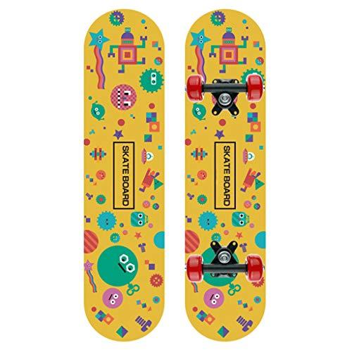 goodjinHH Skateboard für Kinder Anfänger - Klassisch Double Kick Concave Skate Board - Mini 60x15cm, 7-lagiges Ahornholz Komplette Deck (C)