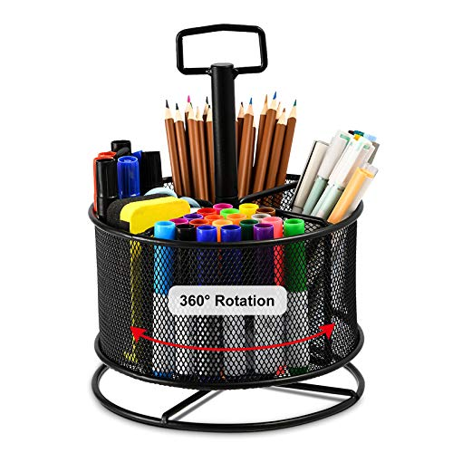Marbrasse Mesh Desk Organizer, 360-Degree Rotating Multi-Functional Pen Holder, 4 Compartments Desktop Stationary Organizer, Home Office Art Supply Storage Box Caddy (Black)