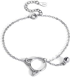Belons Pulsera para mujer de plata de ley 925, diseño de gato