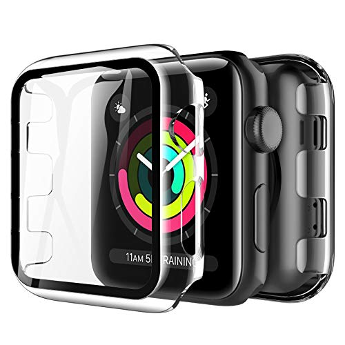 LK Compatible con Apple Watch Series 3 Series 2 Series 1 42mm Protector de Pantalla,2 Pack,PC Funda, Cristal Vidrio Templado
