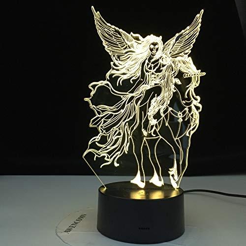 KangYD Luz nocturna 3D Flying Horse and Girl, lámpara de ilusión óptica LED, D - Grieta remota Blanco (16 colores), Regalo para niño, Lámpara de mesa, Alta calidad