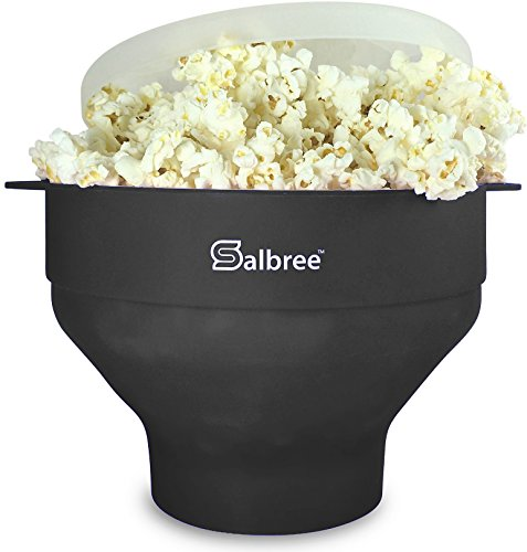 Original Salbree Microwave Popcorn Popper, Silicone Popcorn Maker, Collapsible Bowl BPA Free - 15 Colors Available (Black)