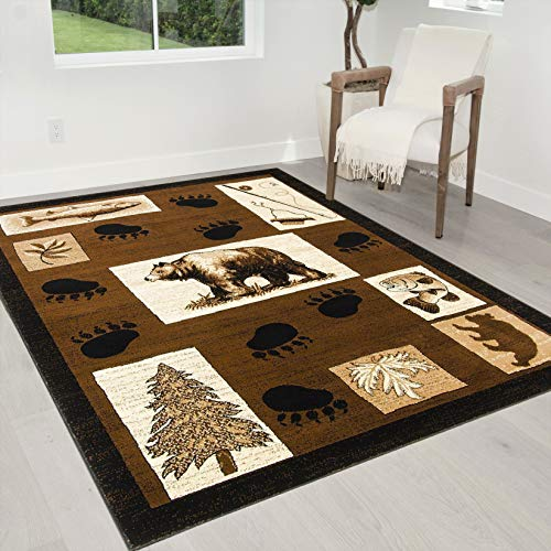 "HR-Cabin Rug–Lodge, Cabin Nature and Animals Area Rug–Modern Geometric Design Cabin Area Rug–Abstract, Chocolate/Beige–Bear/Footprint/Trees/Fishing Equipment (5'2"" x 7'2"")"