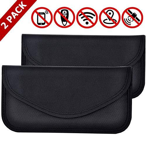 2 Pack Faraday Bag for Phones, RFID Blocking Faraday Key Fob Protector, Faraday Cage Signal Blocker, Cell Phone Key Fob Protector (Large)