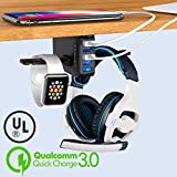 Headphone Stand with USB Charger - Under Desk Headset Hook Holder Hanger Mount w/ 5 USB Port Quick Charge 3.0 Charging Station (8A/40W)and Cable Organizer for PC Gaming Headsets Accessories, UL Listed