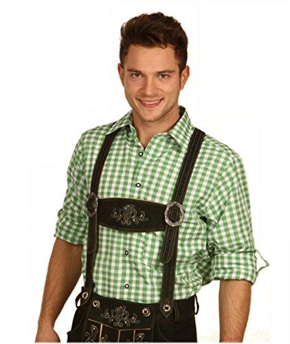 Fuchs Trachtenhemd kariert mit Krempelärmeln für Herren (M, grün)