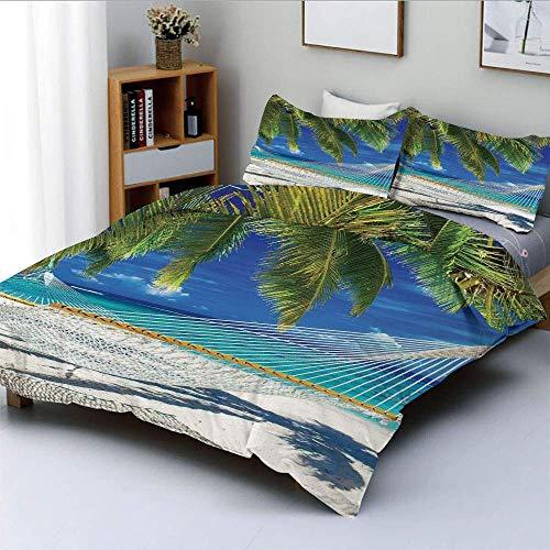 Juego de funda nórdica, hamaca en la playa de arena entre palmeras, coco con vistas al mar, naturaleza, arte, juego de cama decorativo de 3 piezas con 2 fundas de almohada, color crema, verde marino,