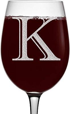 Etched Monogram 16oz Stemmed Wine Glass (Letter K)