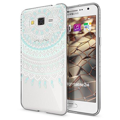 NALIA Funda Carcasa Compatible con Samsung Galaxy Grand Prime, Motivo Design Movil Protectora Fina Carcasa Silicona Cubierta, Goma Estuche Telefono Bumper Cover Case, Designs:Mandala Azul Turquesa