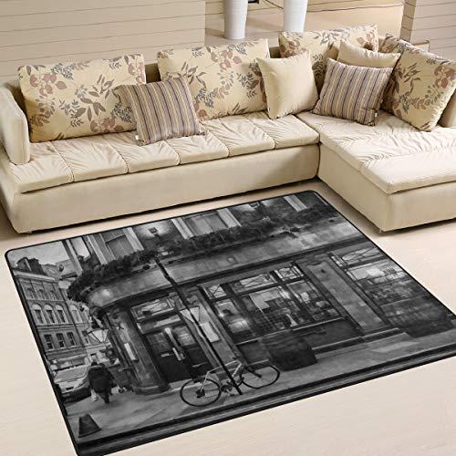 Naanle London - Alfombra Antideslizante para salón, Comedor, Dormitorio, Cocina, 120 x 160 cm, diseño de Londres, 100 x 150 cm(3' x 5')