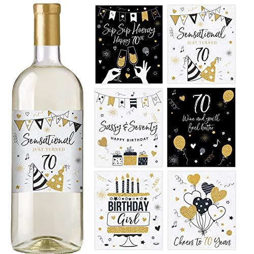70th Birthday Wine Bottle Labels, Set of 6 Waterproof Labels, Birthday Gifts for Her, 70th Birthday Party Decorations, Ideas and Supplies