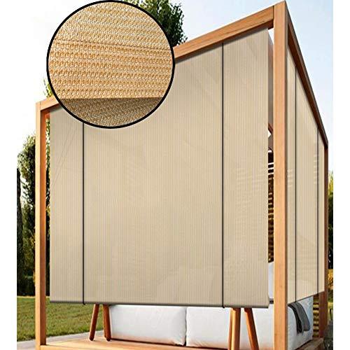 Sonnensegel Sichtschutznetz, Verdunkelungsrollo Rollo Jalousie Trennvorhang Anti-UV Sonnenschutzstoff zum Terrasse Markise Fensterabdeckung Pergola, 45 Größen LJAINW