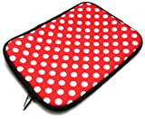 Emartbuy ® Polka Dots Red / White Water Resistant Neoprene Soft-Zip Case / Cover Für Odys Neo X7 Tablet (7 Zoll Ereader / Tablet / Netbook)