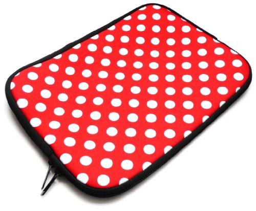 Emartbuy® BigBen Unity Tab 7 Tablet PC 7 Zoll Polka Dots Rot / Weiß Wasserdicht Neopren weicher Reißverschluss Kasten Hülsen Abdeckungs ( 7 Zoll eReader / Tablet / Netbook )