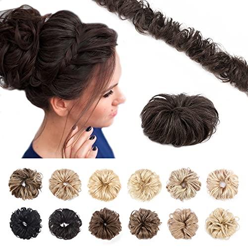 Silk-co Haarteile Echthaar Haargummi Haarteil Dutt mit Haaren Ponytail Extensions Echthaar Weich Natürlich Haarverlängerung 7A Remy Haare 02# Dunkelbraun