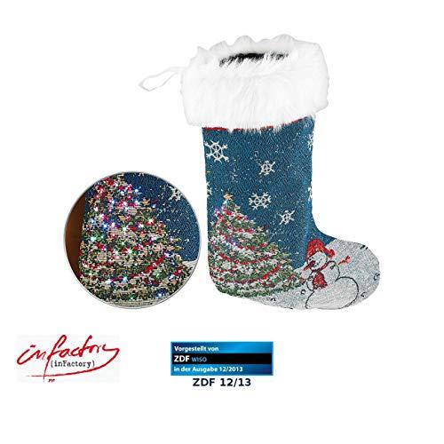 infactory Nikolausstiefel: Leuchtender Geschenke-Strumpf für Nikolaus & Weihnacht, über 100 LEDs (Weihnachtsstrumpf)