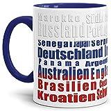 Tassendruck Flaggen-Tasse WM Teilnehmer - Fahne/Länderfarbe/WM 2018/Weltmeisterschaft/Cup/Tor/Qualität Made in Germany Russland Innen & Henkel Dunkelblau