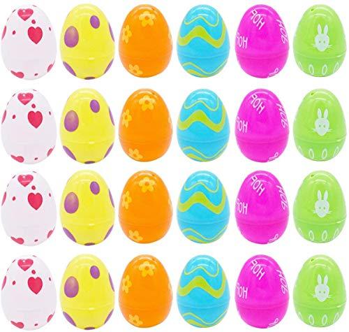 Uova di Pasqua in Plastica Uovo di Pasqua Uova Fai da Te Sorpresa Pasqua Gacha Capsule Giocattolo Guscio Duovo Dipinto Colorato Regalo Creativo di Pasqua Festa di Forniture Decorazione-24 Pezzi