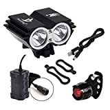 Nestling 5000 Lumens 2x Cree XM-L U2 LED Mountain Road Bike Bicycle Cycling Front Lights, MTB Lights 18650...