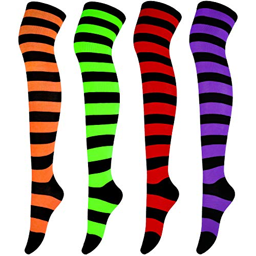 Aneco 4 Pairs Over Knee High Stripe Socks Halloween Cosplay Accessories for Adult Woman