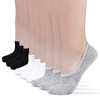 No Show Socks Women for Flats 3-9 Pairs, Womens Socks Low Cut Non Slip with Grip liner Free Blisters, Reinforced heel and Toe