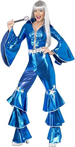 Smiffys 41159M Damen 70er Tanz-Traum Kostüm, Schnür-Jumpsuit, Größe: M, 41159, Blau