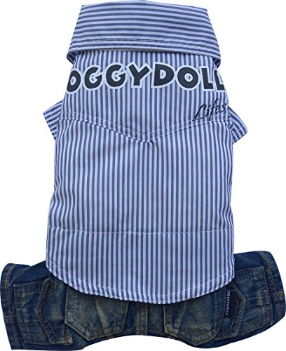 Doggy Dolly C195 Hemd mit Hose für Hunde, blau Gestreift, Größe : XXL