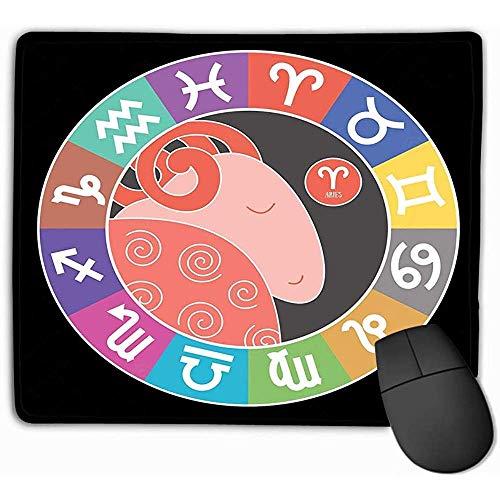 Duurzame gestikte randen Mousemat, Mouse Pad Ram Zodiac Tekenen Waterman Weegschaal Leo Stier Kanker Vissen Maagd Steenbok Boogschutter Gemini Schorpioen Astrologische Rechthoek Rubber Mousepad 25X30Cm