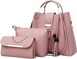 3 قطع حقيبة كتف جلد كاجوال نسائية فاخرة حقيبة كتف عصرية كروسبودي إم إس. مجموعة من ثلاث قطع بلون موحد