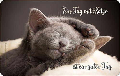 RAHMENLOS Original Frühstücksbrettchen Schneidbrettchen: EIN Tag mit Katze ist EIN Guter Tag