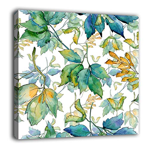 Maple Leaves Wall Art Bathroom Wall Decor Botanical Watercolor Green Leaf Canvas Pictures Modern Artwork Contemporary Aquarelle Canvas Prints Bedroom Living Room Laundry Decor 24' x 24'