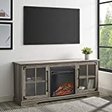 Walker Edison Rustic Farmhouse Wood and Glass Fireplace Stand with 2 Cabinet Doors 65' Flat Screen Universal TV Console Living Room Storage Shelves Entertainment Center, Grey
