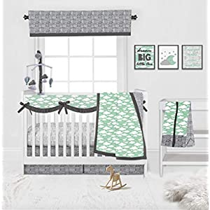 Bacati Clouds in The City Mint/Grey Neutral 10-Piece Nursery in a Bag Unisex Baby Nursery Crib Bedding Set with Long Crib Rail Guard for US Standard Crib 100 Percent Cotton