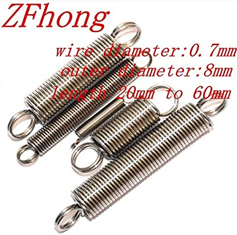 YanHua- Spring with A Hook Extension Spring 10PCS Length : 40mm 0.7 X 8mm 0.7mm Stainless Steel Tension Spring Handmade DIY Parts Length 25mm to 60mm